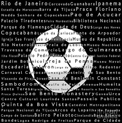 Soccer Game Digital Art - Rio De Janeiro In Words Black Soccer by Sabine Jacobs