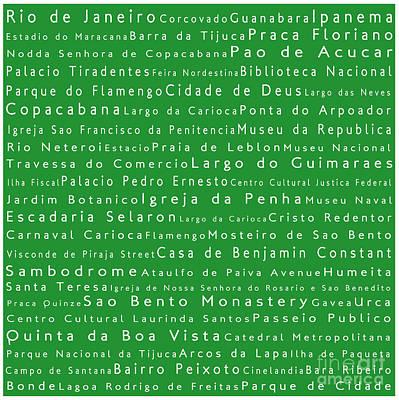 America Digital Art - Rio De Janeiro In Words Green by Sabine Jacobs