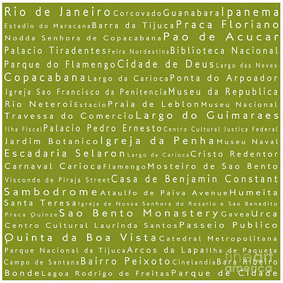 Rio De Janeiro In Words Olive Art Print by Sabine Jacobs