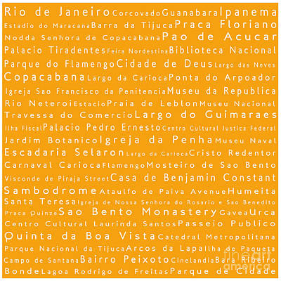 Rio De Janeiro In Words Orange Art Print by Sabine Jacobs