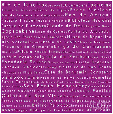 Rio De Janeiro In Words Pink Art Print by Sabine Jacobs