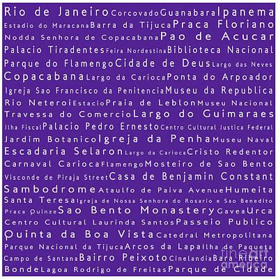 Typography Digital Art - Rio De Janeiro In Words Purple by Sabine Jacobs