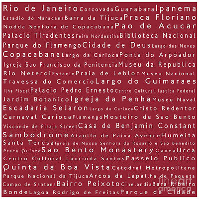 Rio De Janeiro In Words Red Art Print by Sabine Jacobs
