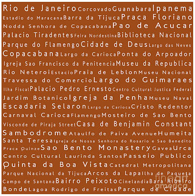 Rio De Janeiro In Words Toffee Art Print