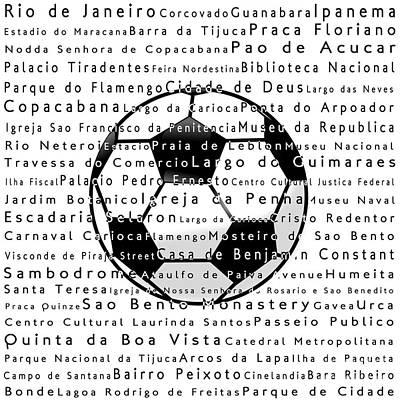 Rio De Janeiro In Words White Soccer Art Print by Sabine Jacobs