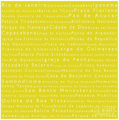 Rio De Janeiro In Words Yellow Art Print by Sabine Jacobs