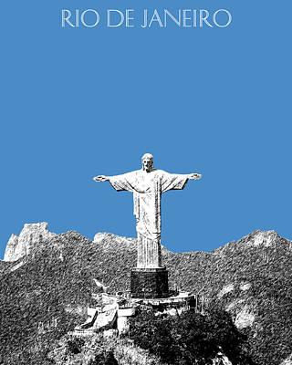 Pen Digital Art - Rio De Janeiro Skyline Christ The Redeemer - Slate by DB Artist