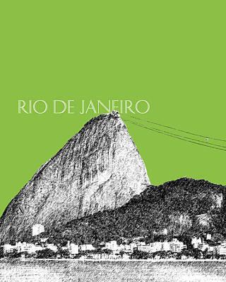 Brazil Digital Art - Rio De Janeiro Skyline Sugarloaf Mountain - Olive by DB Artist