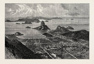 Sea View Drawing - Rio De Janeiro, View From The Summit Of Corcovado, Showing by English School