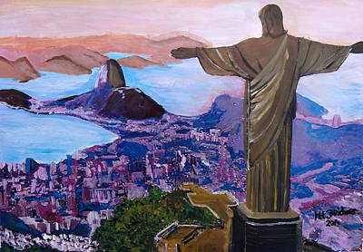Christ The Redeemer Painting - Rio De Janeiro With Christ The Redeemer by M Bleichner