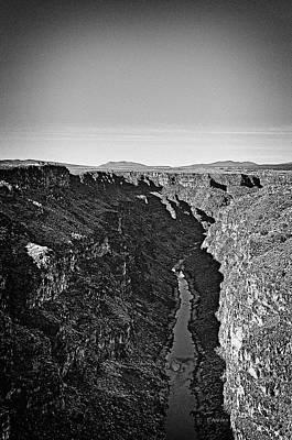 Photograph - Rio Grande Gorge In B-w by Charles Muhle