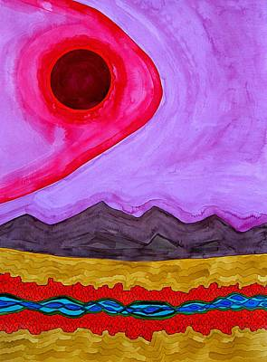 Rio Grande Gorge Original Painting Art Print by Sol Luckman