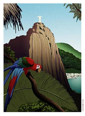 Macaw Digital Art - Rio by Lawrence Klimecki