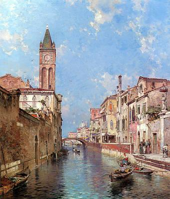 Tuscan Digital Art - Rio St Barnaba Venice by Franz Richard Unterberger