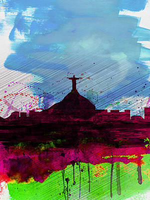 South America Digital Art - Rio Watercolor Skyline by Naxart Studio