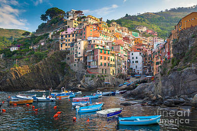 Transportation Royalty-Free and Rights-Managed Images - Riomaggiore Boats by Inge Johnsson