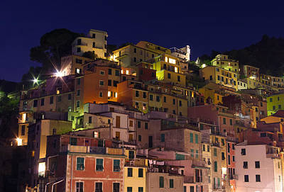 Riomaggiore Buildings At Night Art Print by Ioan Panaite
