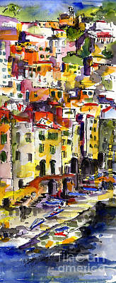 Painting - Riomaggiore Italy Waterccolor by Ginette Callaway