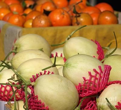 Cantaloupe Photograph - Ripe Cantaloupes And Oranges by Yali Shi