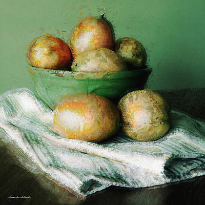 Painting - Ripe Mangoes In A Bowl by Susan Schroeder