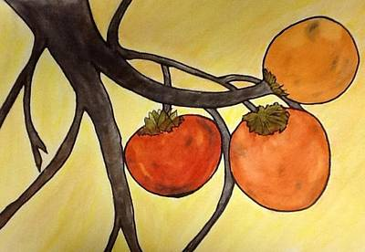 Painting - Ripe Persimmons by Joan Zepf