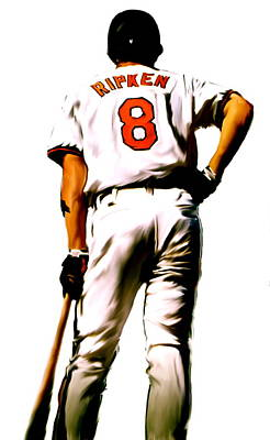 Gehrig Painting - Ripken II   Cal Ripken Jr by Iconic Images Art Gallery David Pucciarelli