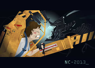 Xenomorph Digital Art - Ripley Vs Alien Queen by Nate Call