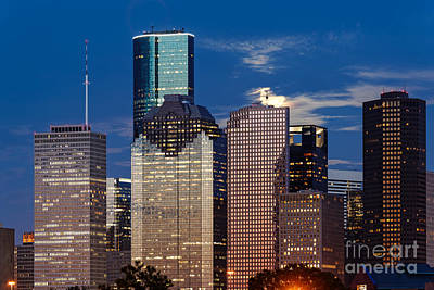 Rise Of The Super Moon Behind Downtown Houston Skyline - Houston Texas Art Print