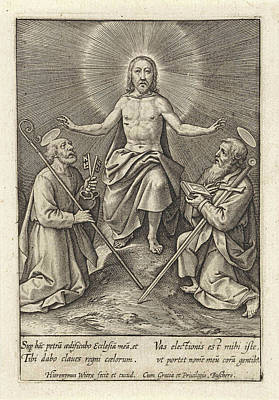 Risen Christ With Peter And Paul, Hieronymus Wierix Art Print by Hieronymus Wierix