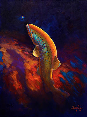 Trout Painting - Rising Brown Trout - Chiaroscuro Painting by Savlen Art