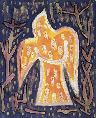 Phoenix Bird Photograph - Rising From The Embers, 1992 Acrylic by Peter Davidson