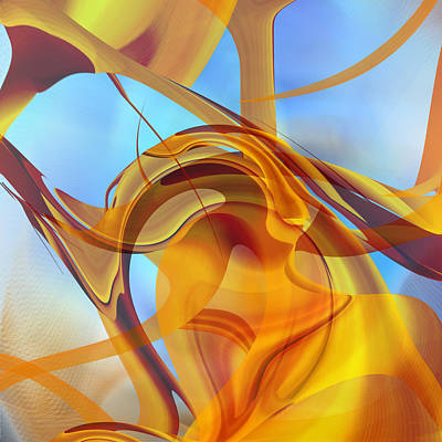 Digital Art - Rising Into Sky Blue Abstract by rd Erickson