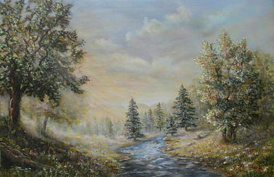 A Sunny Morning Painting - Rising Mist In The Berkshires In Ma by  Luczay