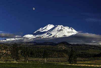 Photograph - Rising Moon Over Mt. Shasta by PhotoWorks By Don Hoekwater