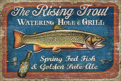 Painting - Rising Trout Sign by JQ Licensing