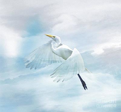 Egret Watercolor Photograph - Rising Up by Kerri Farley
