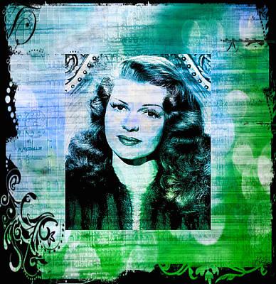 Rita Hayworth - Blue Green Art Print