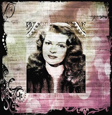 Rita Hayworth - Brown Pink Art Print
