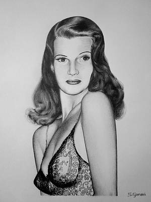 Drawing - Rita Hayworth by Geni Gorani