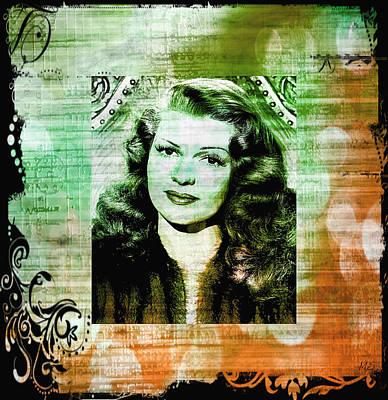 Rita Hayworth - Green Orange Art Print