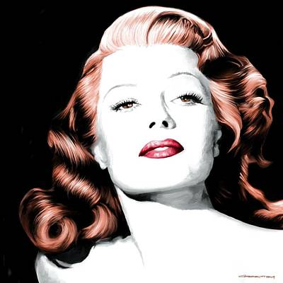 Digital Art - Rita Hayworth Large Size Portrait by Gabriel T Toro