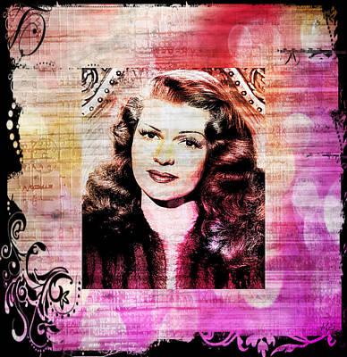 Rita Hayworth - Orange Pink Art Print