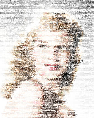 Digital Art - Rita Hayworth Typo by Taylan Apukovska