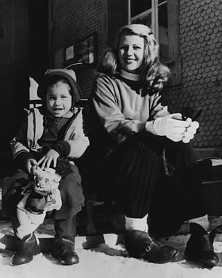 Rita Hayworth Photograph - Rita Hayworth With Girl by Retro Images Archive