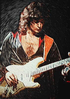 Scream Digital Art - Ritchie Blackmore by Taylan Apukovska
