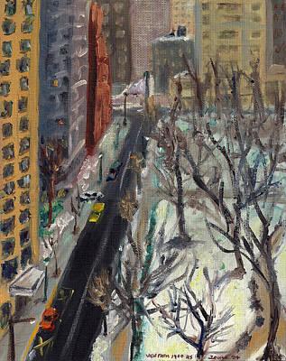 Rittenhouse Square In The Snow Print by Joseph Levine