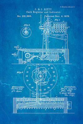 Cash Register Photograph - Ritty Cash Register 2 Patent Art 1879 Blueprint by Ian Monk