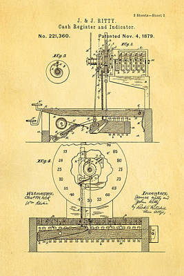 1879 Photograph - Ritty Cash Register 2 Patent Art 1879 by Ian Monk