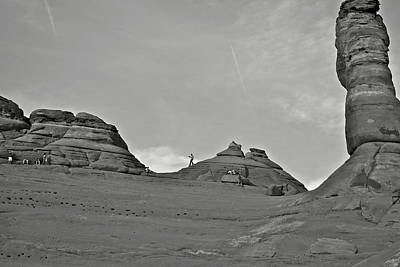 Photograph - ritual in black and white at Arches National Park by SC Heffner