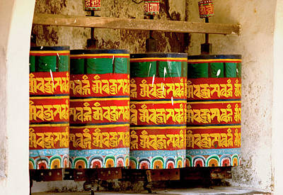 Monastic Photograph - Ritual Prayer Wheels At A Buddhist by Jaina Mishra